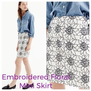 J.Crew Embroidered Floral Mini Skirt EUC